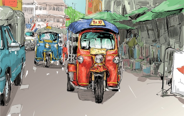 Skizze der transportstadt zeigen traditionelles taximotor-dreirad in thailand, illustration