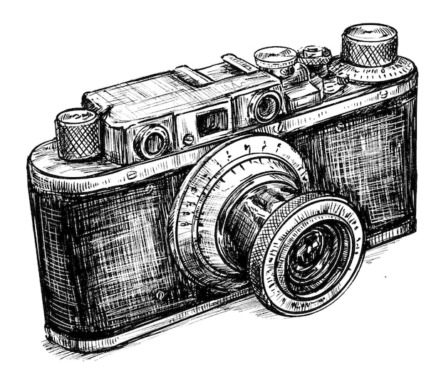 Skizze der vintage kamera handzeichnung