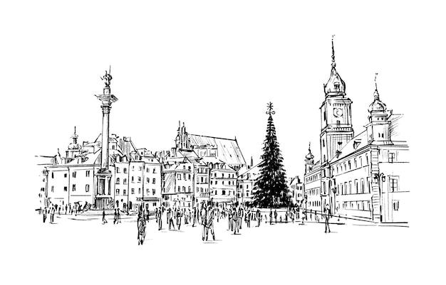 Skizze der weihnachtsstadt warschau polen handzeichnung