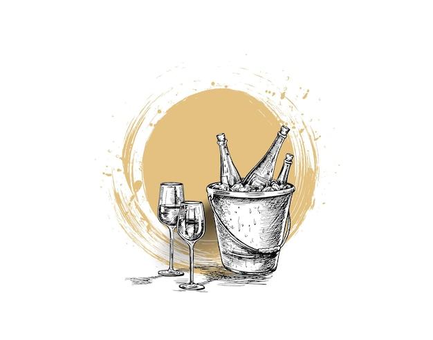 Skizze der weinflasche, glas rotwein.