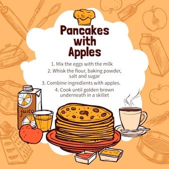 Skizze des apple-pfannkuchen-rezepts