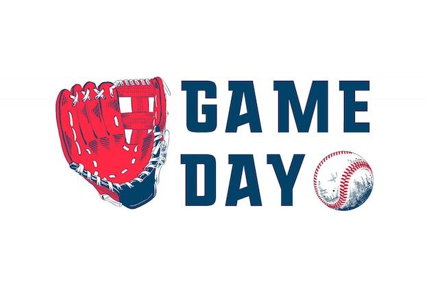 Skizze des baseballballs und des handschuhs mit typografie