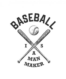 Skizze des baseballballs und des schlägers mit typografie