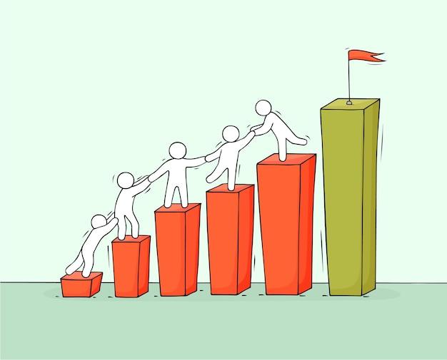 Skizze des diagramms mit arbeitenden kleinen leuten. doodle süße miniatur von diagramm und teamwork. handgezeichnete cartoon-vektor-illustration für business-design und infografik.