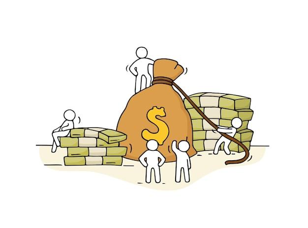 Skizze des geldbeutels mit arbeitenden kleinen leuten. hand gezeichnete karikatur für geschäfts- und finanzdesign.