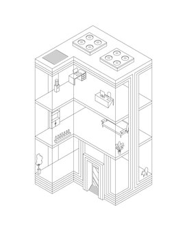 Skizze des geschäftsgebäudes isometrisch mit büros und innenmöbeln. modernes 3d-stadtbüro. gebäudefassade aus glasarchitektur. Premium Vektoren