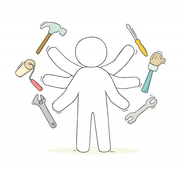 Skizze des handwerkers mit werkzeugen.