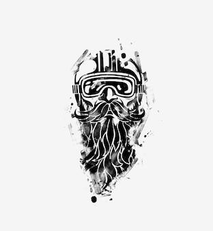 Skizze des hipster-fahrers, der einen helm für eine sichere fahrt trägt, vektorillustration.