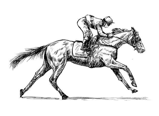 Skizze des jockey hand draw