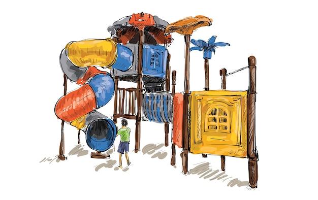 Skizze des kinderspielplatzes auf öffentlichem raum isoliert, illustration