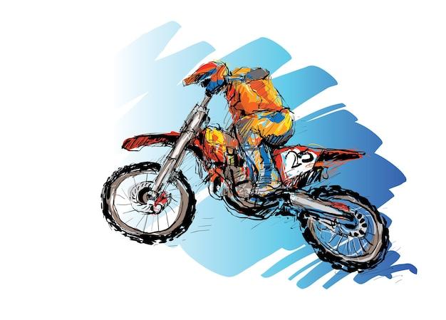 Skizze des motorcross-sportlers, der umriss zeichnet