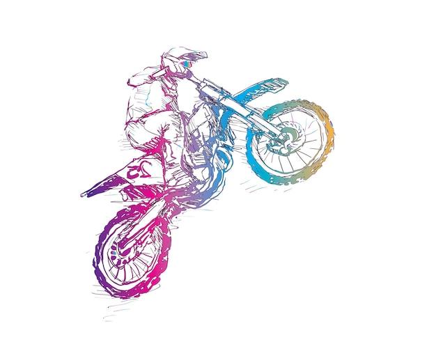Skizze des motorcross-sportlers, umriss in regenbogenfarbe zeichnend