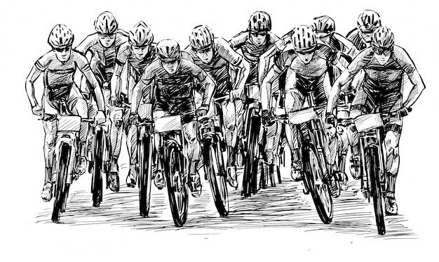 Skizze des mountainbike-wettbewerbs zeigen handzeichnung