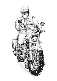 Skizze des polizisten reitet motorrad hand ziehen
