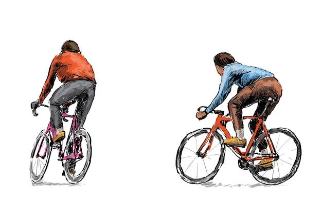 Skizze des radfahrers, der fahrrad mit festem gang auf straße reitet, illustration