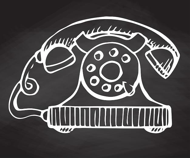 Skizze des retro-telefons auf der tafel isoliert. vektor-illustration.