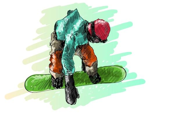 Skizze des snowboardmannsreitens, wintersport, snowboardkollektion, freihandzeichnung illustration