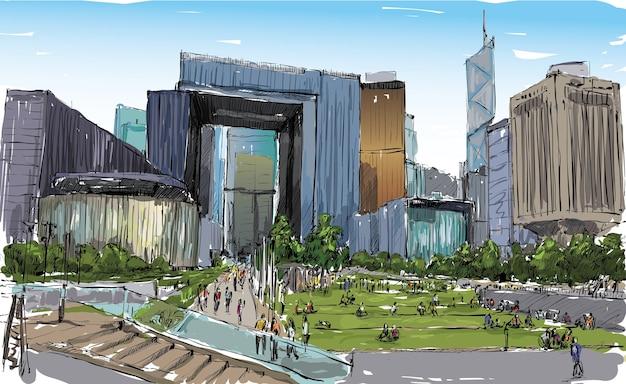 Skizze des stadtbildes in hong kong zeigen öffentliches parkzentrum und büroarchitekturgebäude, illustration