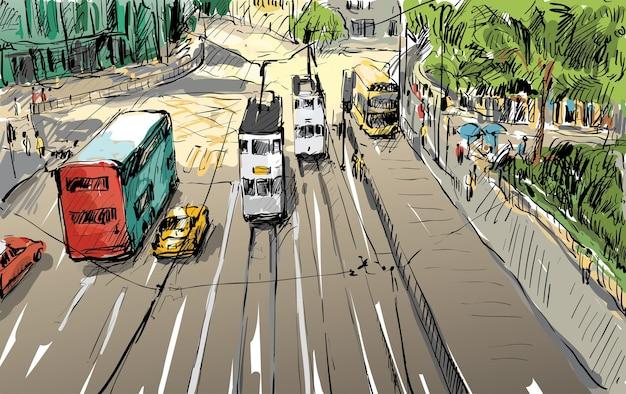 Skizze des stadtbildes in hong kong zeigen stadtbild und gebäudeillustration