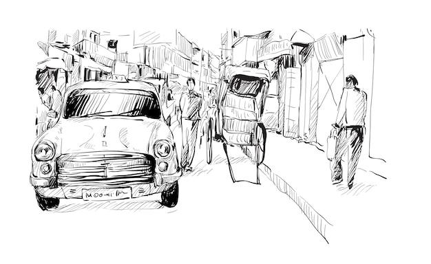 Skizze des stadtbildes in indien zeigen lokales taxi und traditionelle handgezogene rikscha auf der straße