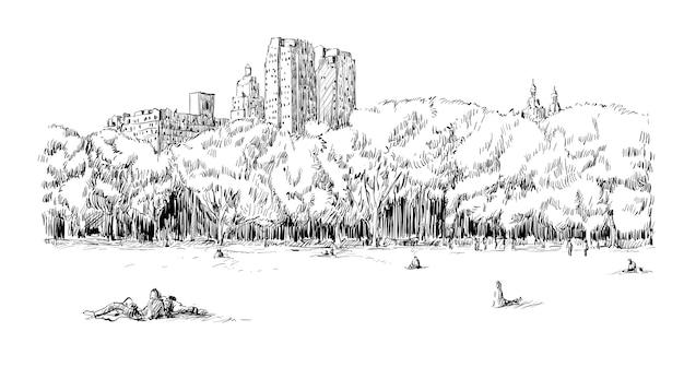 Skizze des stadtbildes in new york city zeigen central park field und menschen