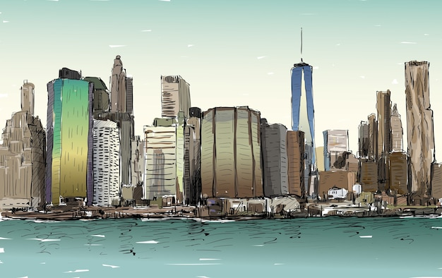 Skizze des stadtbildes in new york zeigen manhattan midtown mit wolkenkratzern, illustration