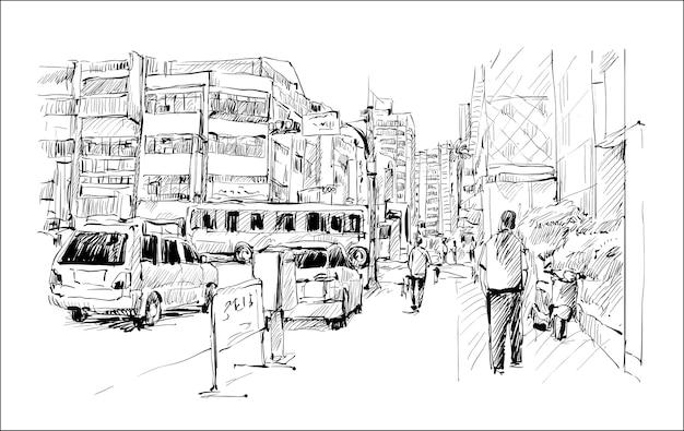 Skizze des stadtbildes in taiwan zeigen taipei walk street und transport, illustration