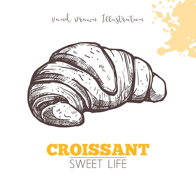 Skizze des süßen croissants lokalisiert auf weiß