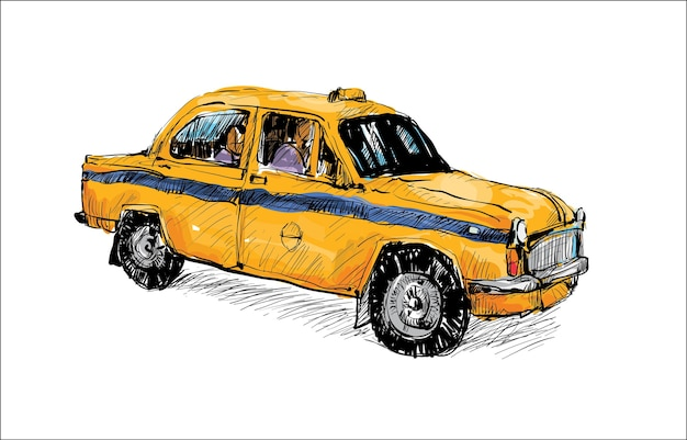 Skizze des transports in indien zeigen lokales taxi traditionell isoliert, illustration