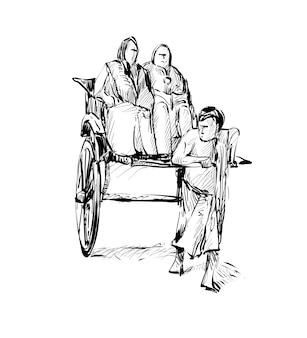 Skizze des transports in indien zeigen traditionellen handgezogenen rikschafahrer, der auf straße arbeitet, illustration