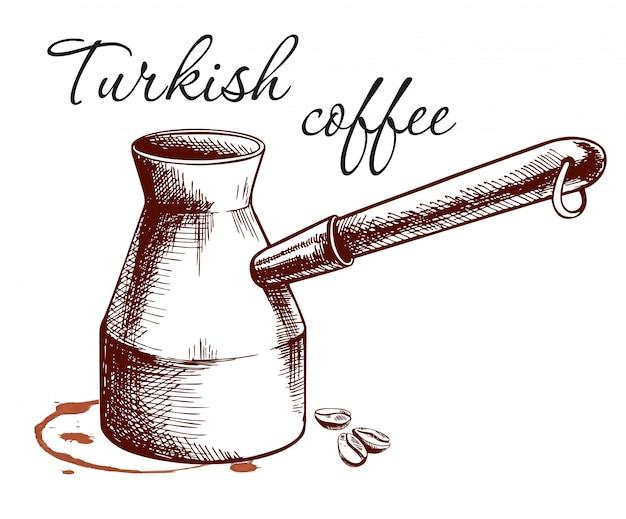 Skizze des türkischen kaffees