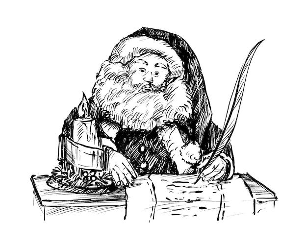 Skizze des weihnachtsmannes schreibt handzeichnung