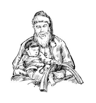 Skizze des weihnachtsmanns liest buch für kinderhand zeichnen
