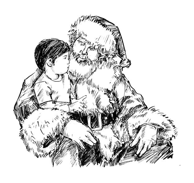 Skizze des weihnachtsmanns mit kinderhand zeichnen