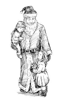 Skizze des weihnachtsmanns spielt mit kinderhand zeichnen