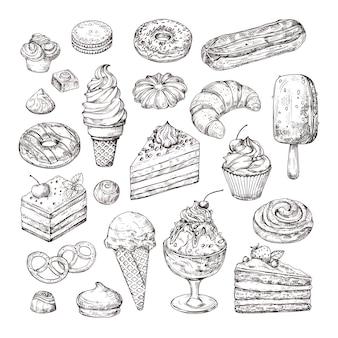 Skizze dessert. kuchen, gebäck und eis, apfelstrudel und muffin im vintage-gravurstil. hand gezeichnete fruchtdesserts isolierte vektorsatzillustration
