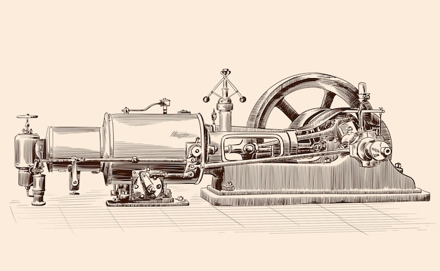 Skizze einer alten dampfmaschine mit kessel, schwungrad und kolbenmechanismus.