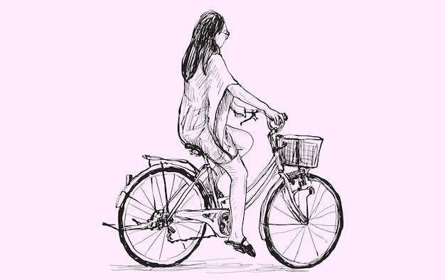 Skizze einer frau, die fahrrad fährt