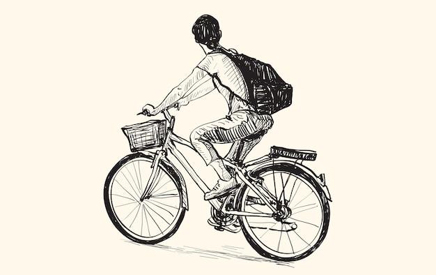 Skizze einer frau, die fahrrad reitet, freie hand, die illustration zeichnet