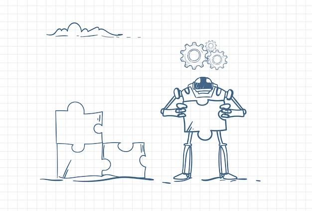 Skizze einer futuristischen automatisierung mit cyborg