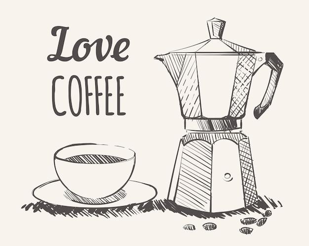Skizze einer geysir-kaffeemaschine mit einer tasse kaffee