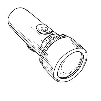 Skizze einer taschenlampe lokalisiert auf einem weißen hintergrund.