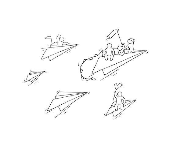 Skizze eines fliegenden papierflugzeugs mit kleinen arbeitern. kritzeln sie niedliche miniatur über führung und entdeckung. hand gezeichnete karikaturillustration für geschäft und bildung