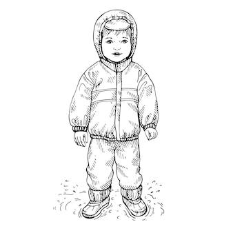 Skizze eines kleinen jungen, der regenmantel und gummistiefel trägt. handgezeichnetes wasserdichtes kostüm für kinder.