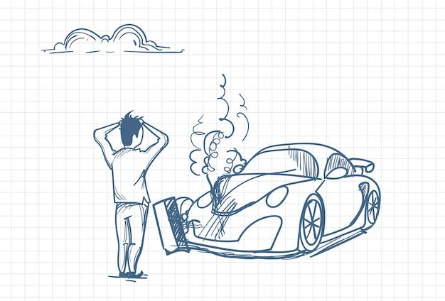 Skizze eines mannes mit kaputtem auto