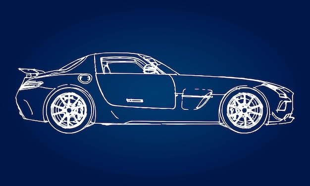 Skizze eines modernen sportwagens auf blauem hintergrund mit farbverlauf.