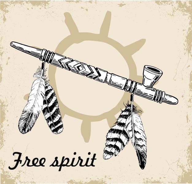Skizze eines traditionellen friedensrohres des amerikanischen ureinwohners.