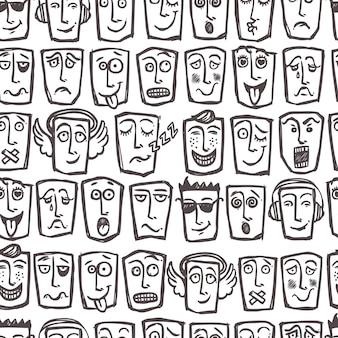Skizze emoticons nahtlose muster