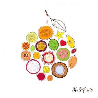 Skizze farbige exotische produkte rundes konzept