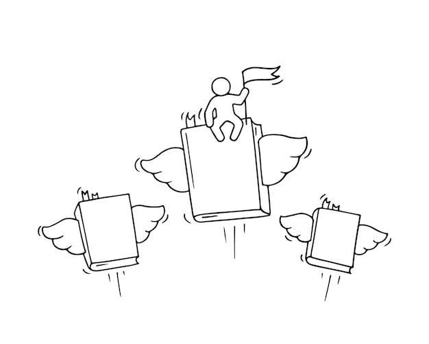 Skizze fliegender bücher mit kleinem arbeiter. kritzele niedliche miniaturszene über bildung. hand gezeichnete karikaturvektorillustration für geschäfts- und studienentwurf.
